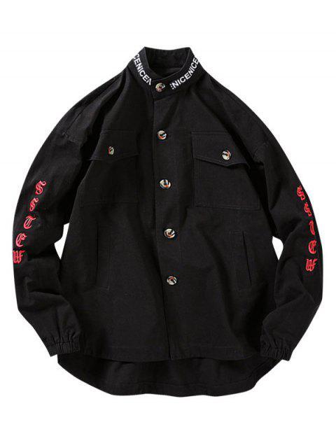 信件模式刺繡設計按鈕夾克 - 黑色 L Mobile