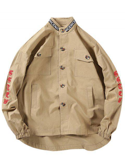 信件模式刺繡設計按鈕夾克 - 黃褐色 XL Mobile