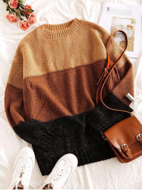 hot Drop Shoulder Crew Neck Colorblock Jumper Sweater - KHAKI XL Mobile