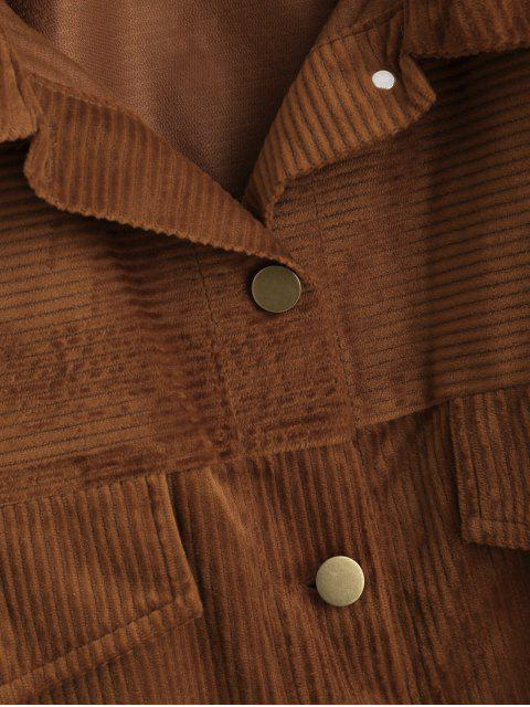 ZAFUL Knopf Solide Cord Shirt Jacke - Braun S Mobile