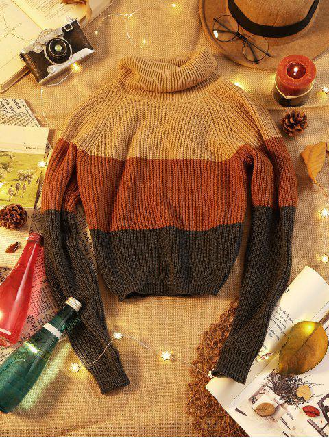 Colorblock Turtleneck Crop Sweater - Khaki S Mobile