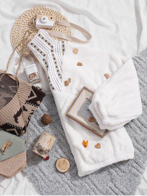 Kordsamtfleck Fluffy Batwing Reißverschlusstasche Mantel - Weiß S Mobile