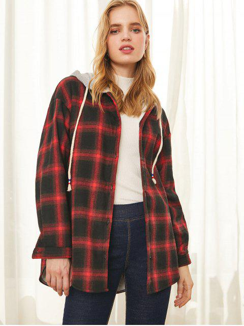Mit Kapuze zuknöpfen Plaid Fleece-Linie Mantel - Rot L Mobile