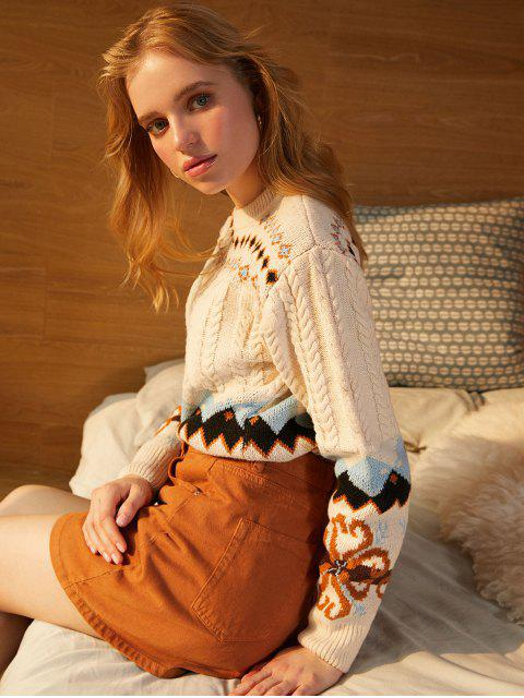 shops Crew Neck Intarsia Knit Graphic Cable Knit Sweater - BEIGE ONE SIZE Mobile