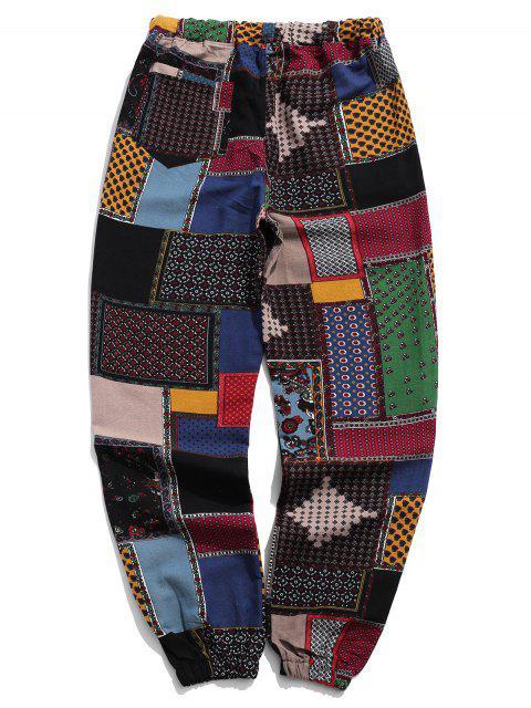 latest Tribal Ditsy Patchwork Print Long Jogger Pants - MULTI-A XS Mobile