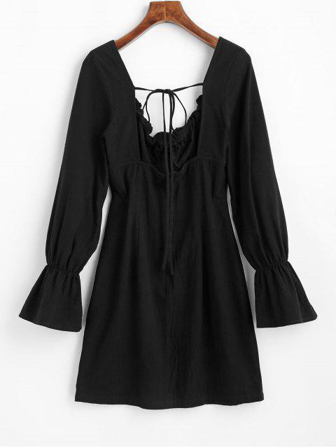 ZAFUL Robe de Laitière Nouée Sans Dos à Volants - Noir XL Mobile