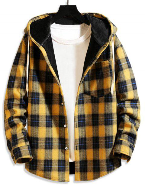 sale Plaid Pattern Button Design Pocket Jacket - YELLOW XL Mobile