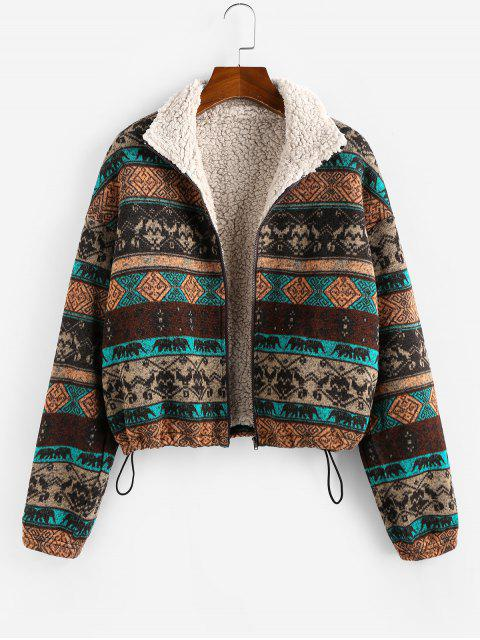 sale ZAFUL Tribal Print Plaid Faux Fur Lined Jacket - MULTI S Mobile