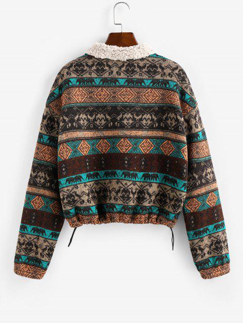affordable ZAFUL Tribal Print Plaid Faux Fur Lined Jacket - MULTI M Mobile