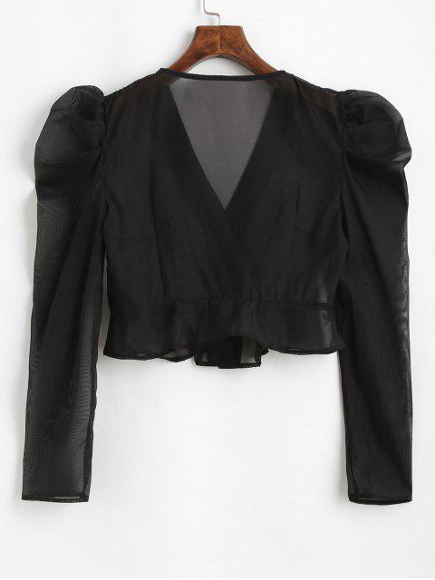 hot ZAFUL Buttoned Semi Sheer Organza Blouse - BLACK L Mobile