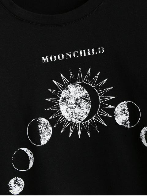 trendy Eclipse Graphic Moon and Sun Long Sleeve Tee - BLACK L Mobile