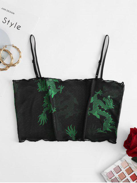 womens ZAFUL Mesh Dragon Print Sheer Lettuce Cami Top - BLACK M Mobile