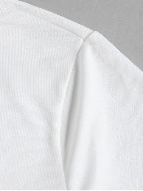fashion ZAFUL High Neck Raw Hem Crop Top - WHITE XL Mobile