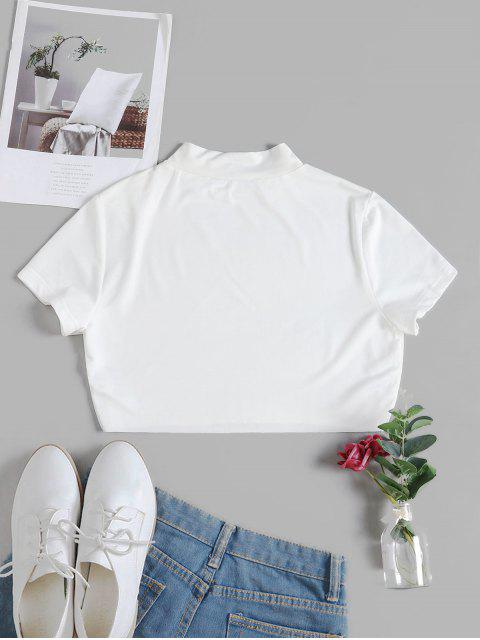 womens ZAFUL High Neck Raw Hem Crop Top - WHITE L Mobile