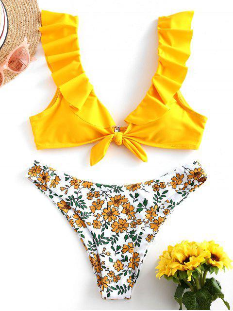 ZAFUL Conjunto de Bikini de Corte Alto de Flor con Volantes - Amarillo Brillante S Mobile
