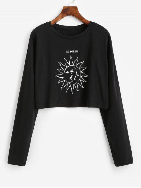 best Moon and Sun Graphic Long Sleeve Tee - BLACK L Mobile