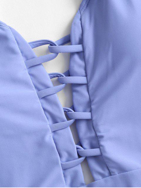 ZAFUL晶格錯位連體泳裝 - 粉藍色 L Mobile