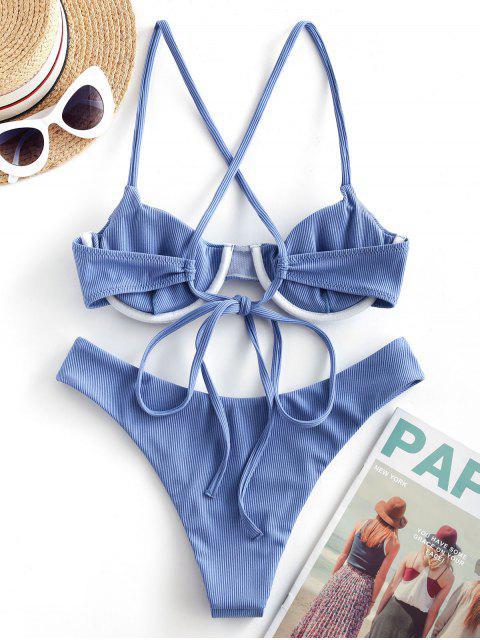 ZAFUL Bikini de Pierna Alta de Criss Cross con Aros Acanalados - Celeste M Mobile