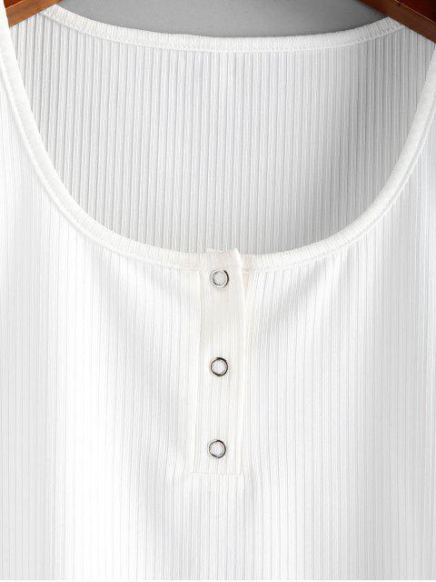 ZAFUL T-shirt Court Côtelé Boutons-pression à Ourlet en Laitue - Blanc L Mobile
