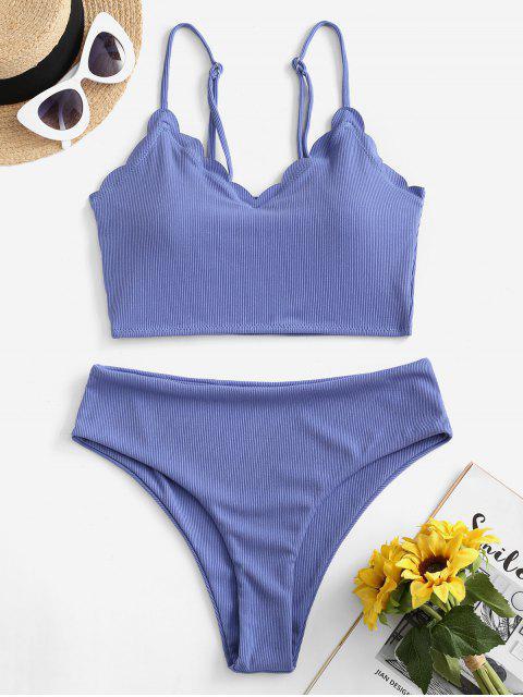 ZAFUL Gerippter Tankini Badebekleidung mit Hoher Taille - Kornblumenblau L Mobile