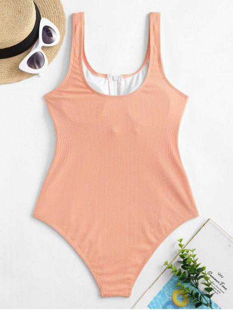 trendy ZAFUL Half-zip Ribbed One-piece Swimsuit - ORANGE PINK S Mobile