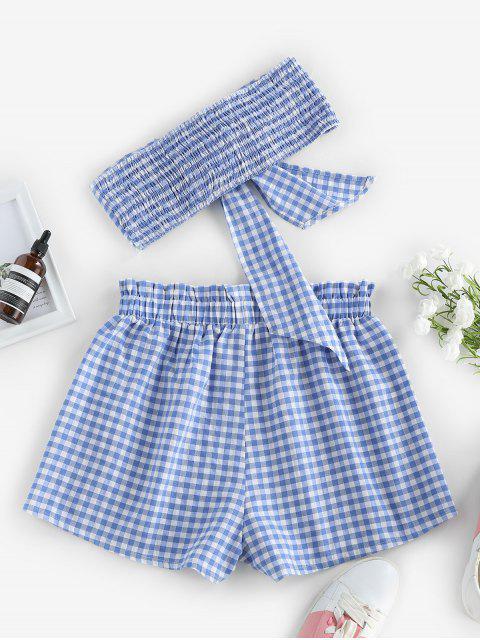 ZAFUL Gingham Bowknot Kittel Trägerloses Shorts Set - Hellblau XL Mobile