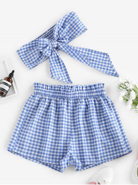 women ZAFUL Gingham Bowknot Smocked Strapless Shorts Set - LIGHT BLUE M Mobile