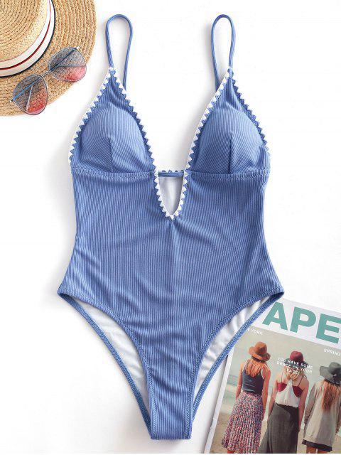 ZAFUL Costume da Bagno Intero Taglio Schiena Aperta - Blu Marino  XL Mobile