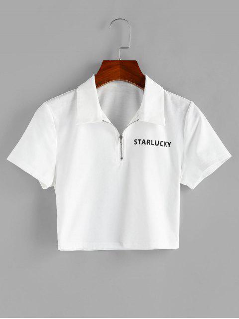ZAFULハーフジップクロップドグラフィックTシャツ - 白 L Mobile