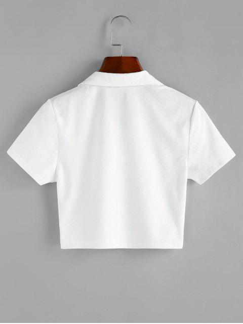 ZAFUL T-shirt Court Graphique à Demi-zip - Blanc L Mobile