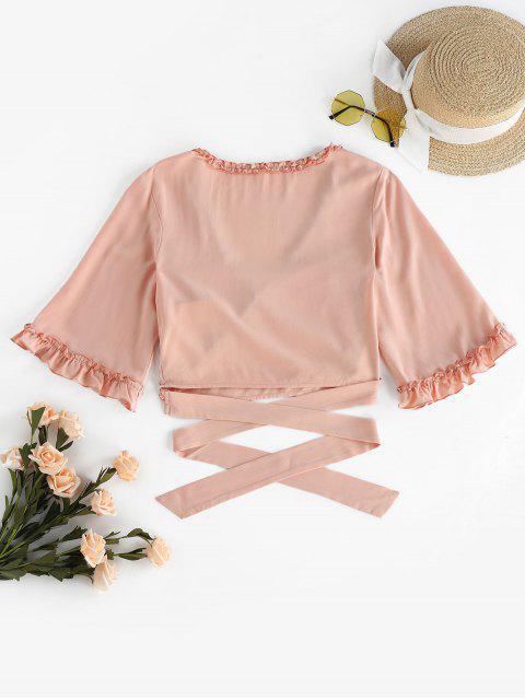 womens ZAFUL Frilled Criss Cross Crop T-shirt - SAKURA PINK M Mobile