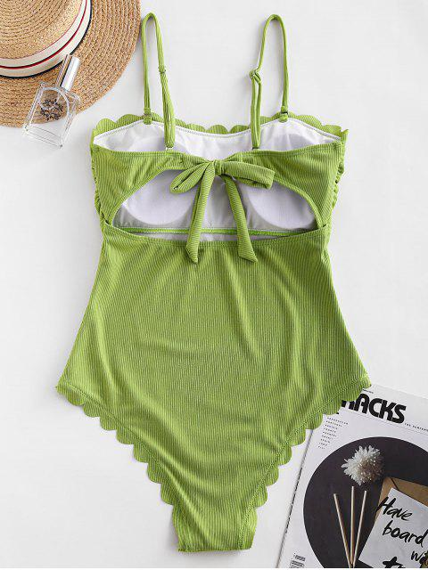 women's ZAFUL Ribbed Scalloped Tie Back One-piece Swimsuit - PISTACHIO GREEN S Mobile