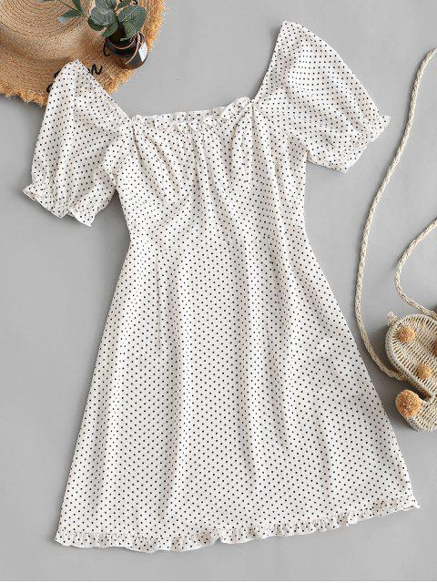 outfits ZAFUL Polka Dot Ruffles Mini Dress - WHITE XL Mobile