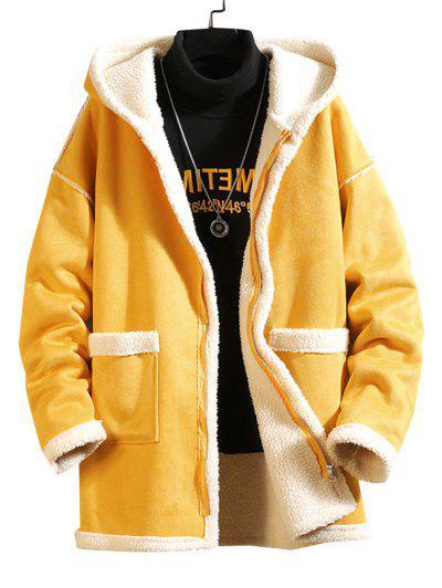 Solid Color Pocket Zipper Fluffy Coat - Yellow M