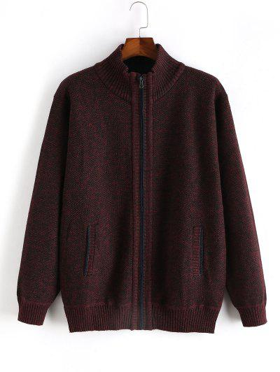 Heathered Casual Zip Up Knitted Jacket - Red Wine Xs