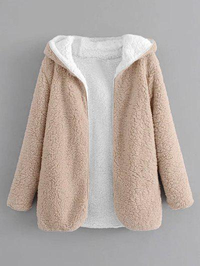 Hooded Open Front Lamb Wool Teddy Coat - Apricot L