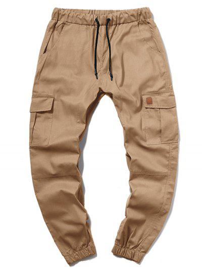 ZAFUL Solid Color Pocket Drawstring Cargo Pants - Camel Brown Xl