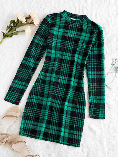 ZAFUL Mini Robe Moulante à Carreaux De Grille - Vert Profond L