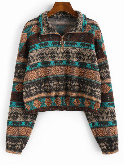 ZAFUL Ethnic Elephant Geo Print Drop Shoulder Quarter Zip Hoodie - Multi-a M