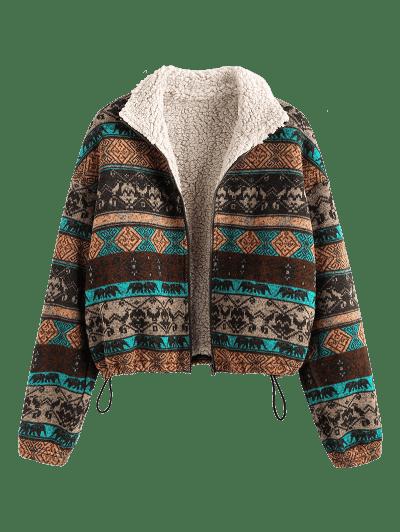 ZAFUL Tribal Print Plaid Faux Fur Lined Jacket