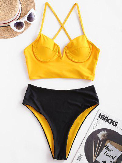 ZAFUL Reversible Crisscross V-notch Underwire Tankini Swimsuit - Mustard M