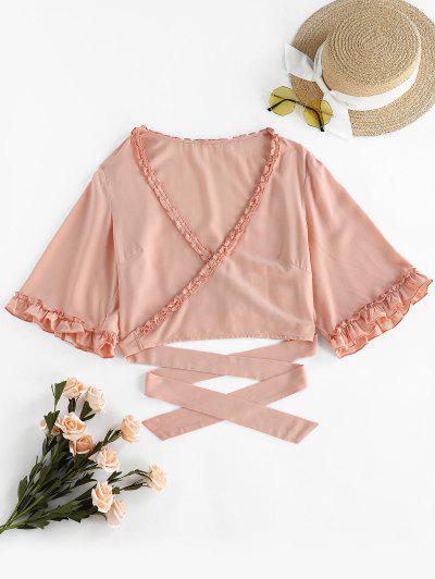 ZAFUL Frilled Criss Cross Crop T-shirt - Sakura Pink M