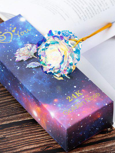 Colorful Plated Artificial Rose Flower In A Box - Multi-a