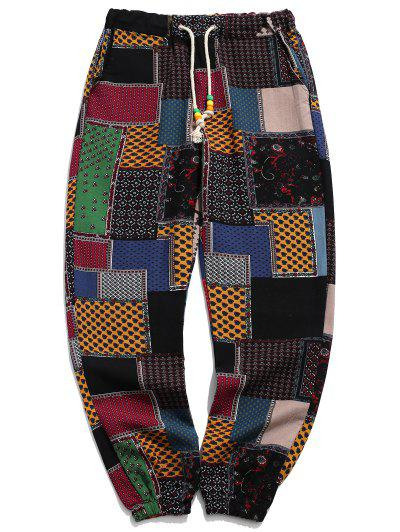 Tribal Ditsy Patchwork Print Long Jogger Pants - Multi-a Xs