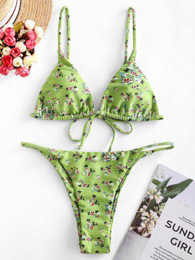 ZAFUL Ditsy Print String Bikini Swimsuit - Multi-a S