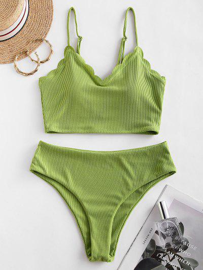 ZAFUL Ribbed Scalloped High Waisted Tankini Swimsuit - Pistachio Green Xl