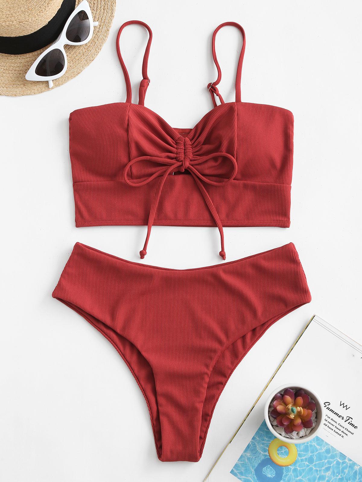 zaful Ribbed High Waisted Tankini Swimsuit
