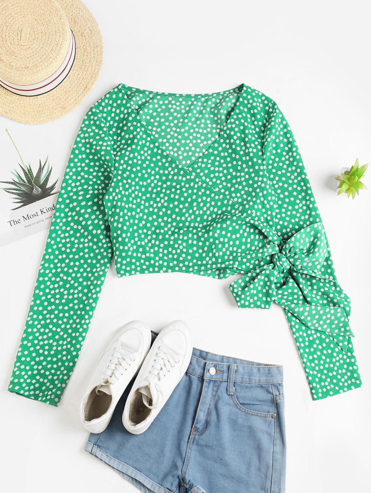 ZAFUL Ditsy Floral Crop Wrap Blouse