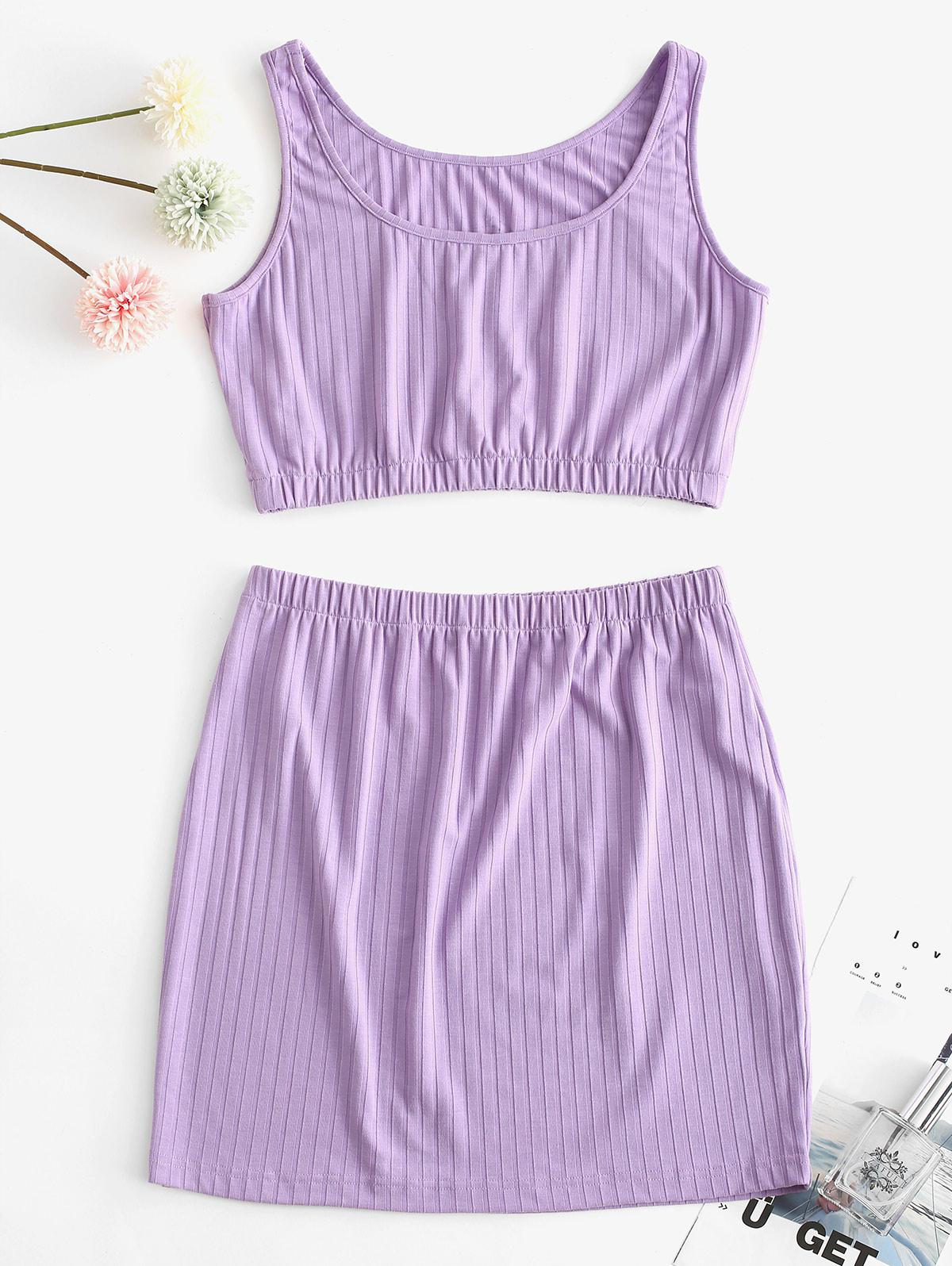 ZAFUL Ribbed Crop Two Piece Skirt Set
