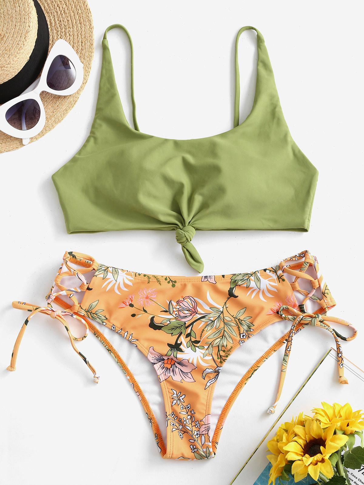 ZAFUL Knot Plant Print Lace-up Bikini Swimsuit фото